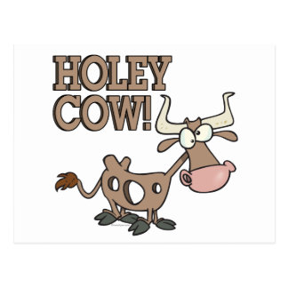 holey cow funny holy cow pun cartoon postcard
