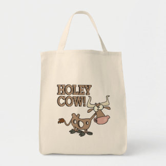 holey cow funny holy cow pun cartoon tote bag