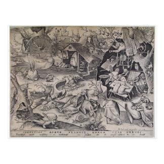 Holgazanería de Pieter Bruegel la anciano Postal