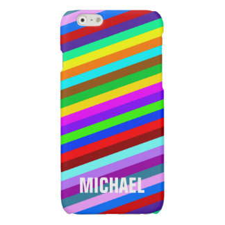 HOLI colored Stripes pattern + your ideas Glossy iPhone 6 Case