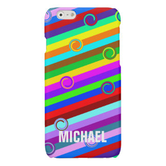 HOLI colored Stripes Swirls pattern + your ideas Glossy iPhone 6 Case