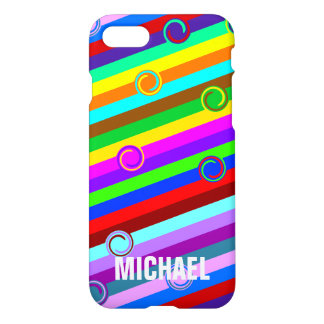 HOLI colored Stripes Swirls pattern + your ideas iPhone 7 Case