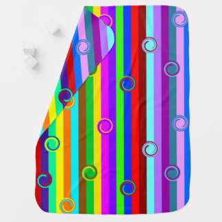 HOLI colored Stripes Swirls pattern + your ideas Receiving Blanket