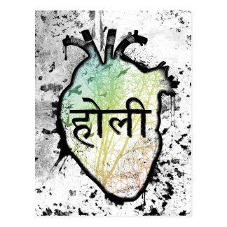 Holi Heart, sanskrit Postcard