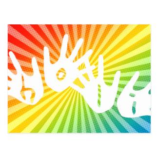 holi rainbow rays hands postcard