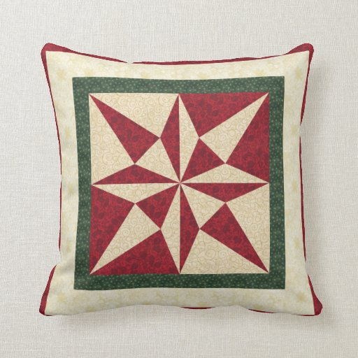 Holiday 8 Star Quilt Design Throw Pillow Zazzle