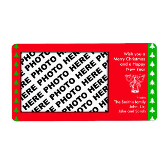 Holiday Add Family Photo Label Bell Red