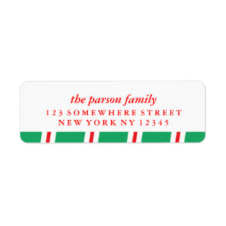 Holiday Address Label Candy Cane
