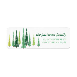 Holiday Address Label Christmas Trees 3