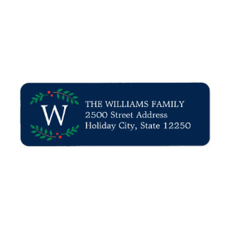 Holiday Address Labels | Monogram Wreath