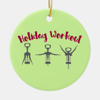 Holiday Alcohol Workout Ceramic Ornament