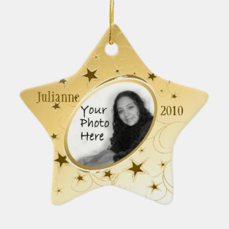 Holiday All Star Photo/ Gold Ceramic Ornament