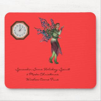 Holiday Angel at Clock Mouse Pad