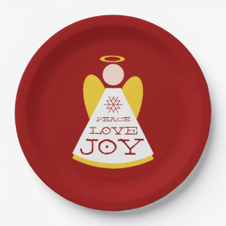 Holiday Angel Peace Love Joy Red And Gold Paper Plate