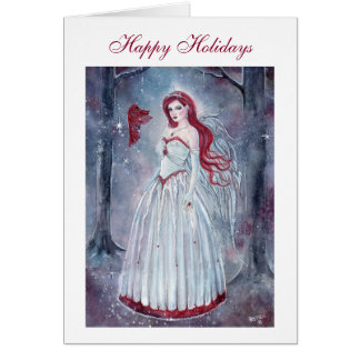 Holiday angel with cardinal card by Renee Lavoie