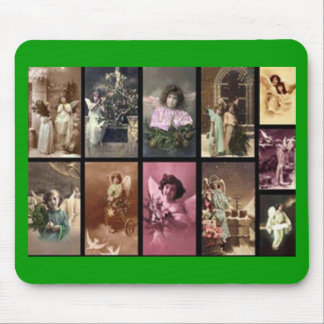 Holiday Angels Green Mousepad - Customizable Mouse Pad