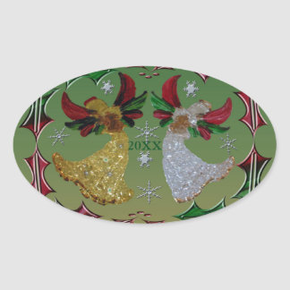 Holiday Angels Holly Oval Sticker