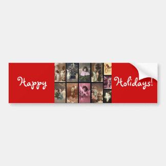 Holiday Angels Red Bumper Sticker  - Customizable