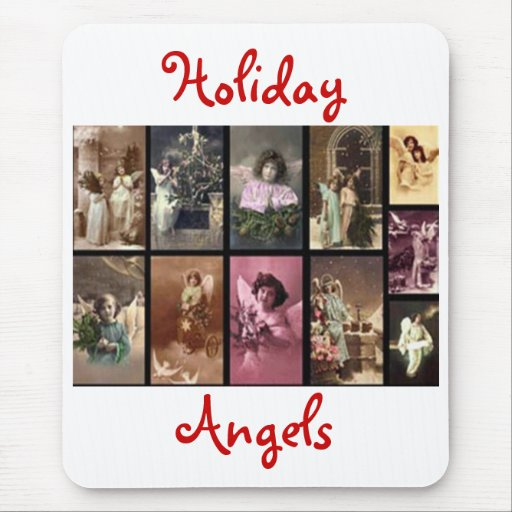 Holiday Angels Red I Mousepad -  Customizable Mouse Pads