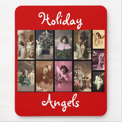 Holiday Angels Red Mousepad - Customizable Mousepads