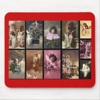 Holiday Angels Red Mousepad - Customizable Mouse Pads