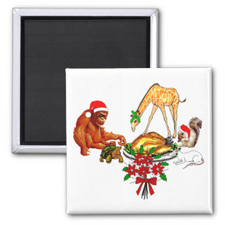 Holiday Animal Cannibals 2 Inch Square Magnet