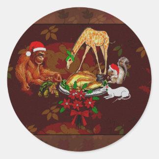 Holiday Animal Cannibals Classic Round Sticker