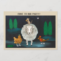 Holiday animals: sheep mouse robin hen invite