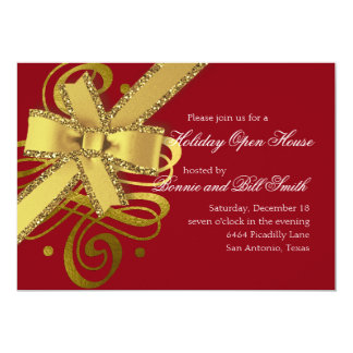 Holiday Any Color Gold Swash and Gold Glittery Bow Card