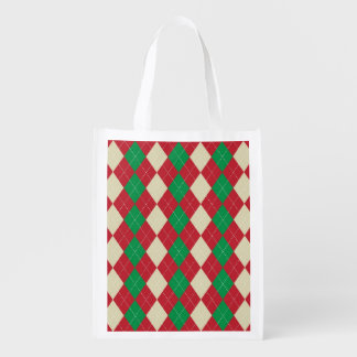 Holiday Argyle Pattern Reusable Grocery Bag