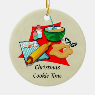 Holiday Baking Christmas Cookies Ingredients Baker Double-Sided Ceramic Round Christmas Ornament