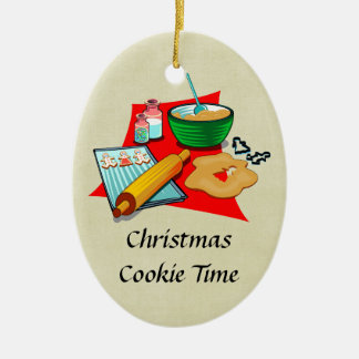 Holiday Baking Christmas Cookies Ingredients Baker Double-Sided Oval Ceramic Christmas Ornament