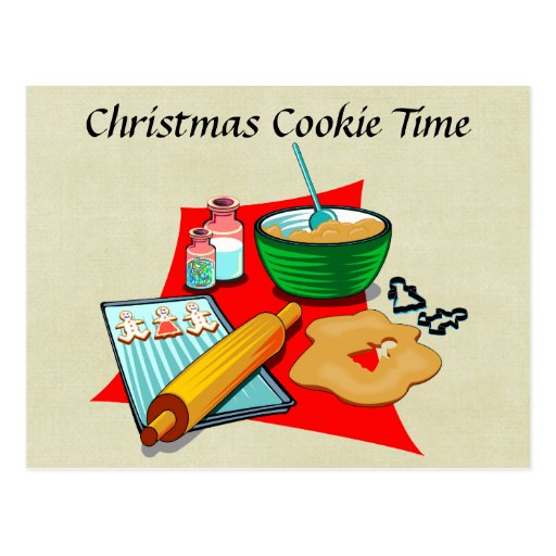 Holiday Baking Christmas Cookies Ingredients Baker Postcard