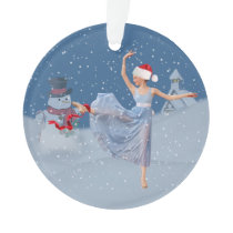 Holiday Ballet Fantasy, Ballerina and Snowman Ornament