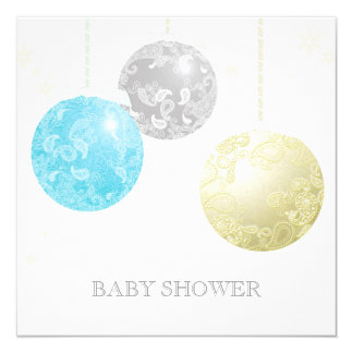 "Holiday Balls Gender Neutral Baby Shower Invites 5.25"" Square Invitation Card"