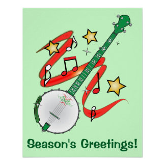 Holiday Banjo Season's Greetings Poster