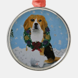Holiday Beagles Metal Ornament