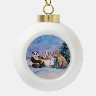 Holiday Bears Custom Christmas Tree Bulb Ornament