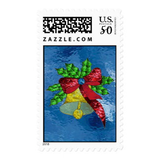 Holiday Bell in Stained Glass Postage
