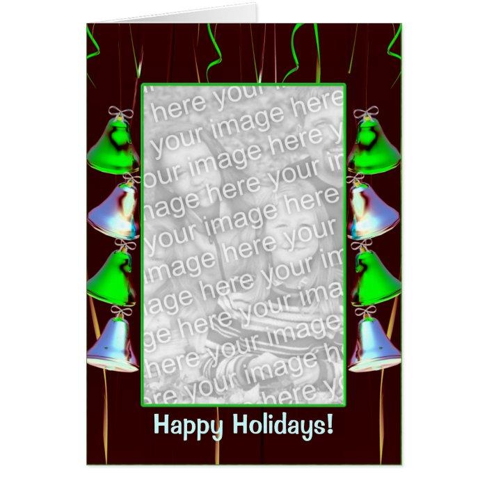 Holiday Bell Shine Dark (photo frame) (tall) Card