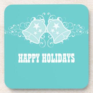 Holiday Bells and Swirls Coaster Set, Aqua
