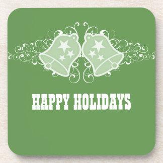 Holiday Bells and Swirls Coaster Set, Green