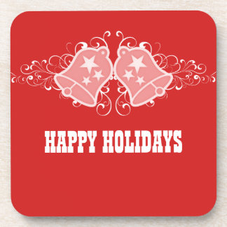 Holiday Bells and Swirls Coaster Set, Red