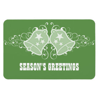 Holiday Bells and Swirls Premium Magnet, Green Magnet