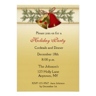 Holiday Bells Gold Invitation