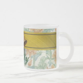 Holiday Bells monogrammed Frosted Glass Coffee Mug