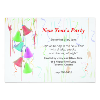 """Holiday Bells New Year's Party 5"""" X 7"""" Invitation Card"""
