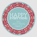 Holiday Berry Wreath with Happy Everything Classic Round Sticker