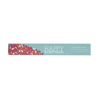 Holiday Berry Wreath with Happy Everything Wraparound Return Address Label