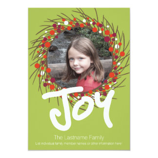 Holiday Berry Wreath with Joy and One Photo 5x7 Paper Invitation Card